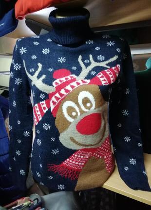 Прикольный женский зимний шерстяной свитер с оленем