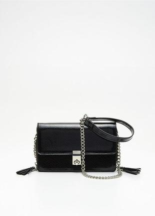 Черная сумка клатч кроссбоди через плече