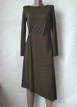 """Фирменное mango шикарное платье-миди """"ассиметрия"""", цвета хаки, размер с-м"""