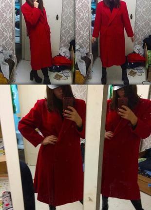 Пальто тренч оверсайз макси винтажное краснте шерстяное
