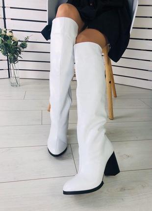 Lux обувь! шикарного качества зимние натуральные высокие сапоги ботфорты