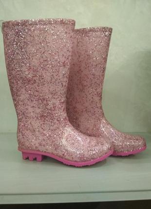 Детские розовые утеплённые резиновые сапоги f&f