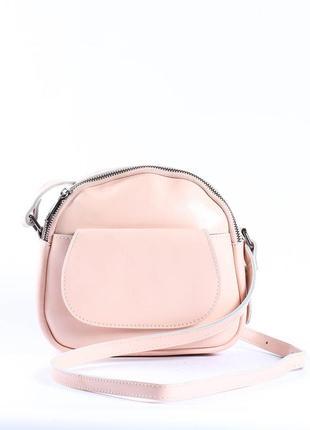 Круглая кожаная сумочка, клатч, сумка-цвет светлая пудра
