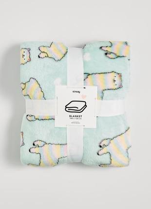 Новый светло-мятный бирюзовый плед одеяло покрывало польша принт лама сердце аниме кавай