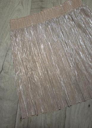 Плиссированная юбка, юбка-плиссе с металлическим отливом topshop, р.s-m, 10