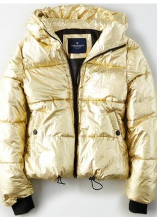 Золотая теплая курточка american eagle metallic boxer puffer jacket