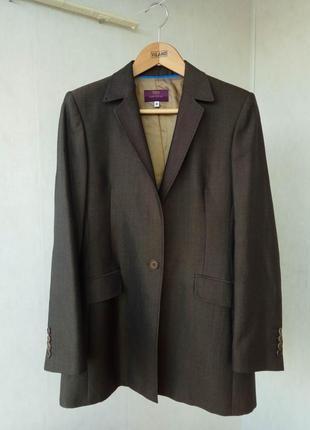 Брючный оливковый шерстяной костюм marks&spencer брюки uk10 пиджак uk12