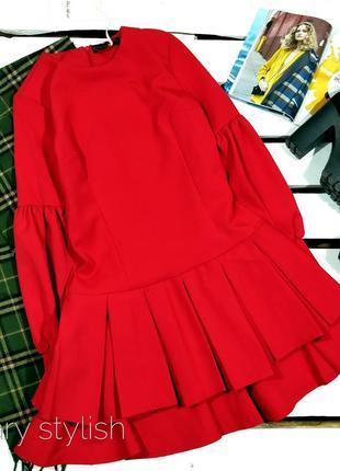 Красное платье с юбкой волан, последний размер в наличии!!!