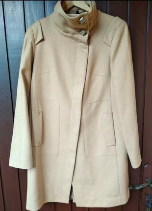 Пальто из натуральной шерсти цвет кэмел marks & spencer