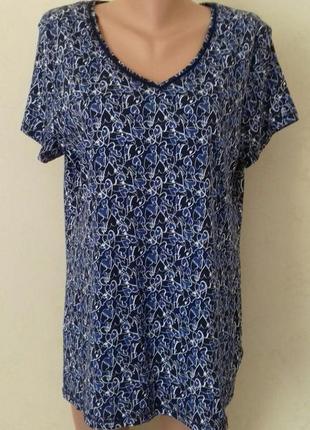 Трикотажная блуза с принтом большого размера tu