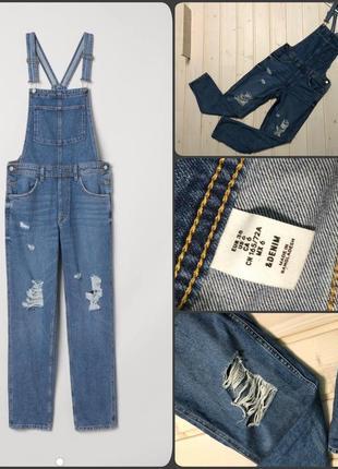 H&m.шикарный джинсовый комбинезон.