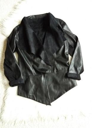 Куртка без  застежки накидка из экокожи и экозамши avon