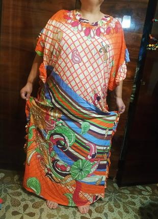 Платье летнее туника бохо морское пляжное халат большой широкий красочный