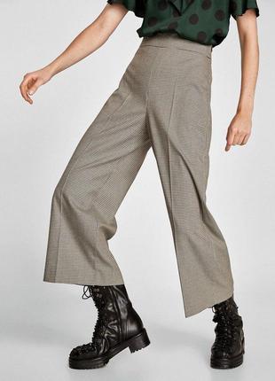 Широкие брюки кюлоты в клетку zara zara