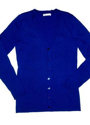 Яркий синий джемпер темный синий электрик кардиган кофта на пуговицах трикотаж