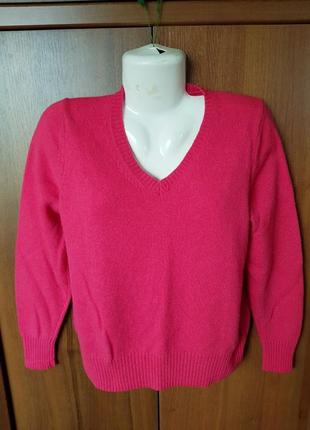 Малиновый шерстяной джемпер -пуловер размера 50-52.