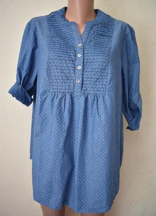 Джинсовая блуза в горошек большого размера