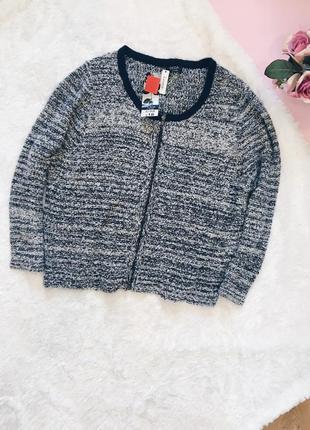 Серый шерстяной теплый кардиган(кофта) большого размера
