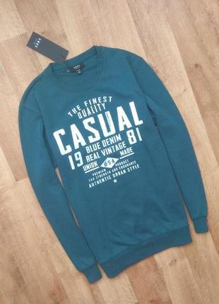 Новый с бирками мужской свитшот (casual) , серо-бирюзового цвета, привезён с польши