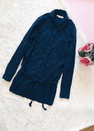 Синяя длинная хлопковая рубашка(блуза) кэлвин кляйн