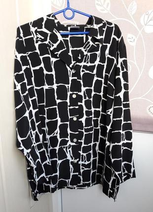 Блуза в трендовый принт из чистого шелка alba moda.