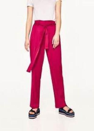Розовые широкие штаны кюлоты с поясом zara