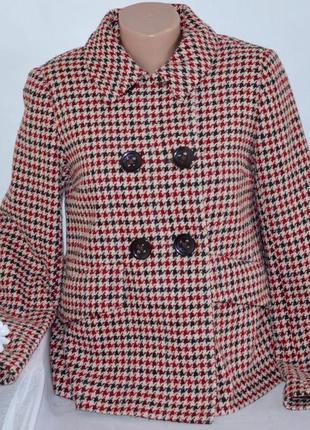 Брендовое шерстяное демисезонное пальто полупальто с карманами h&m румыния