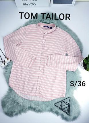 Tom tailor s/36 рубашка в бело розовую полоску  от германского бренда