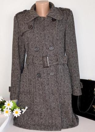 Брендовое демисезонное пальто с поясом и карманами papaya шерсть
