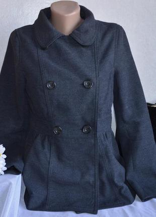 Брендовое серое демисезонное пальто полупальто с карманами divided