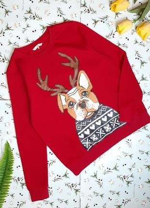 Крутой яркий красный новогодний свитер свитшот на флисе clockhouse, размер 48 - 50