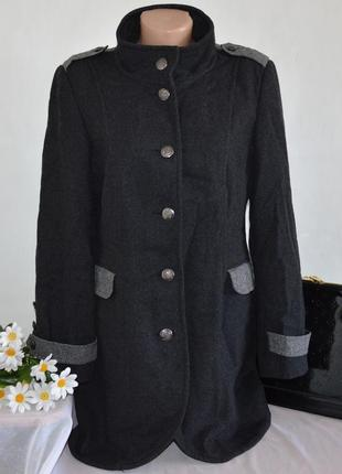 Брендовое демисезонное шерстяное пальто с карманами next