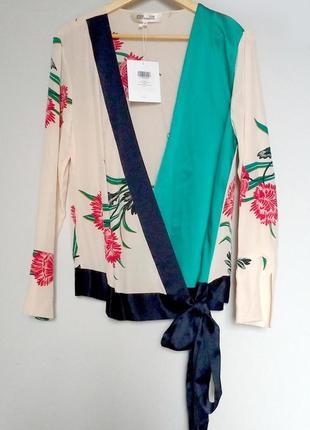 Новая с биркой шелковая блуза diane von furstenberg s топ шелк кимоно
