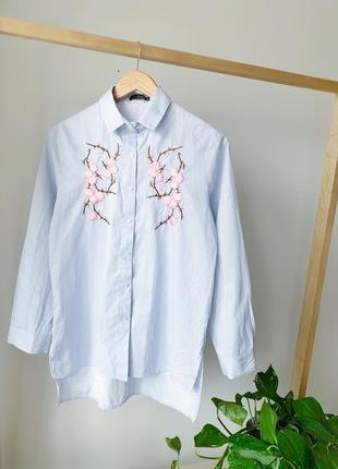 Рубашка в полоску с вишивкой
