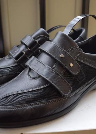 Кожаные мокасины туфли на липучках лоферы ортопедические