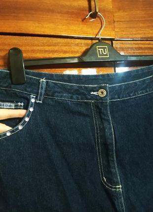 Джинсы джинсовки бриджи капри со стразами укороченные широкие большие баталы