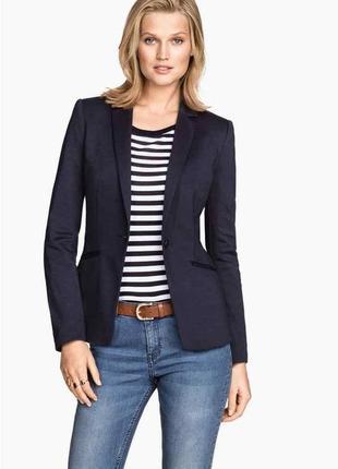 Актуальный приталенный темно- синий пиджак h&m (огромный выбор пиджаков)