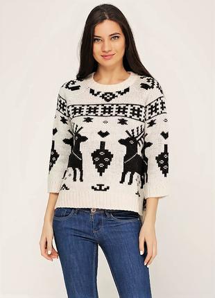 Теплый шерстяной свитер кофта оверсайз с оленями