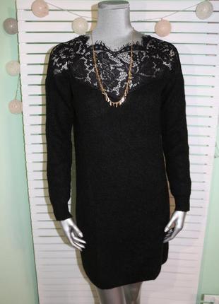 Черное шерстяное платье only