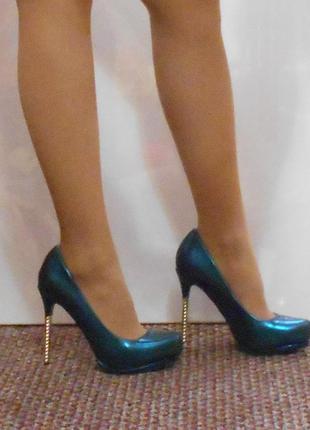 Красивые бирюзовые голубые зеленые туфли лодочки 37 размер женские на шпильке каблук