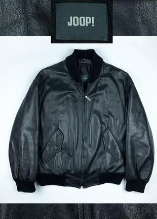 Vintage joop leather jacket винтаж кожаная куртка бомбер
