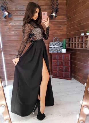 Шикарное платье сетка длинное