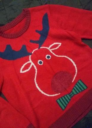 Новогодний свитер  свитерок свитшот принт олень бренд nutmeg