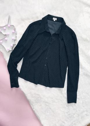 Черная рубашка(блуза) в полоску с рукавами