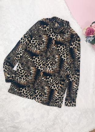 Коричневая леопардовая рубашка(блуза) овэрсайз