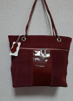 Новая женская сумка бордовая марсалла красная кожаная замшевая натуральная замша кожа