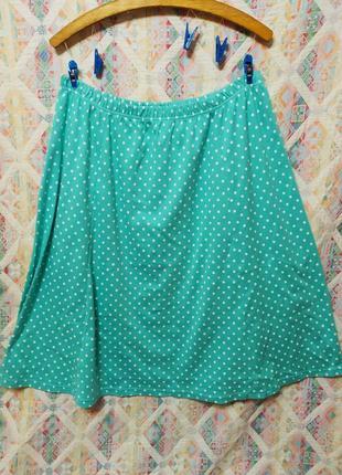 Красивая мятная трикотажная юбка в горшек большой размер 50 52