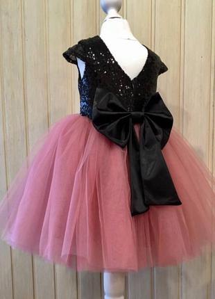 Платье пышное бальное с пайетками пудра с бантом