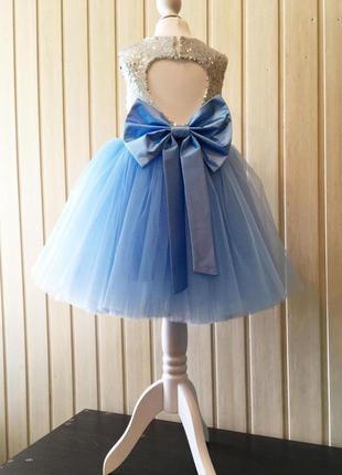 Платье пышное бальное праздничное бантом серебро с пайетками