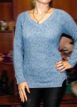 Голубой вязаный свитер blue motion
